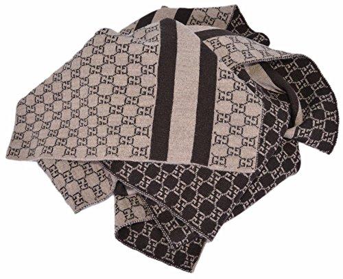 Gucci Wool Web Stripe GG Guccissima Scarf Muffler (Taupe/Brown) by Gucci
