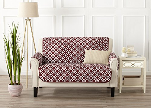 Red Leather Living Room (Printed Deluxe Reversible Stain Resistant Furniture Protector with Printed Pattern. Includes Adjustable Elastic Straps. Liliana Collection By Great Bay Home Brand. (Loveseat, Oxblood Red))
