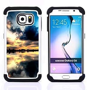 "Hypernova Híbrido Heavy Duty armadura cubierta silicona prueba golpes Funda caso resistente Para Samsung Galaxy S6 / SM-G920 [Sunset Beautiful Nature 68""]"