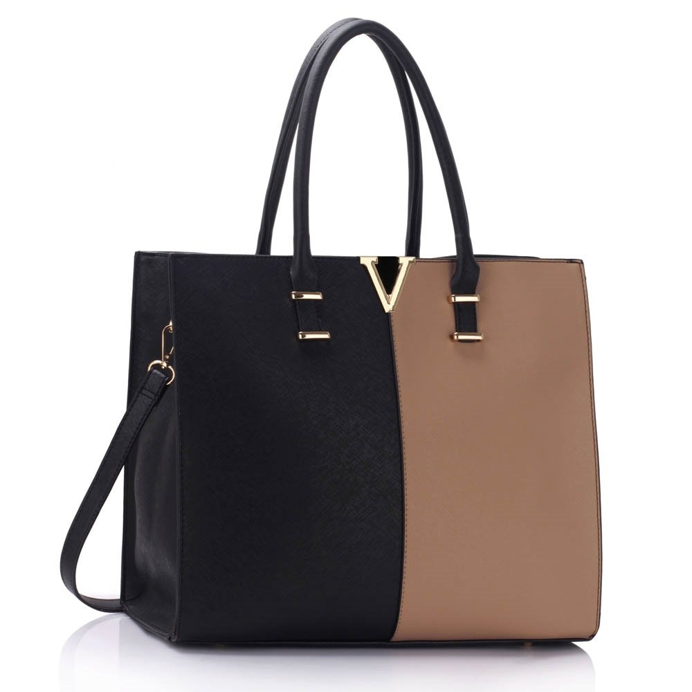 444ddd49ba Ladies Large Fashion Designer Celebrity Tote Bags Women s Quality Hot  Selling Trendy Handbags CWS00319B (319C Black Nude V)  Amazon.co.uk   Clothing