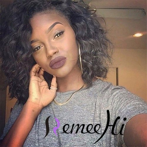 Remeehi 12 Inch 100% Human Hair Lace Front Full Lace Wig Bob Wig Loose Body Curl Baby Hair Around(Full lace wig 2#)