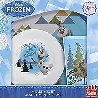 Zak! Diseños de Mealtime Set con plato, tazón y vaso con Olaf & Sven de plástico congelado, resistente a la rotura y sin BPA, juego de 3 piezas
