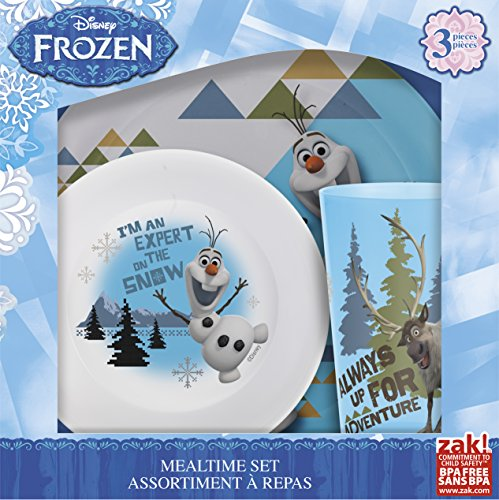 Zak! Designs Mealtime Set with Plate, Bowl and Tumbler featuring Olaf & Sven from Frozen, Break-resistant and BPA-free plastic, 3 Piece Set (Set Frozen)