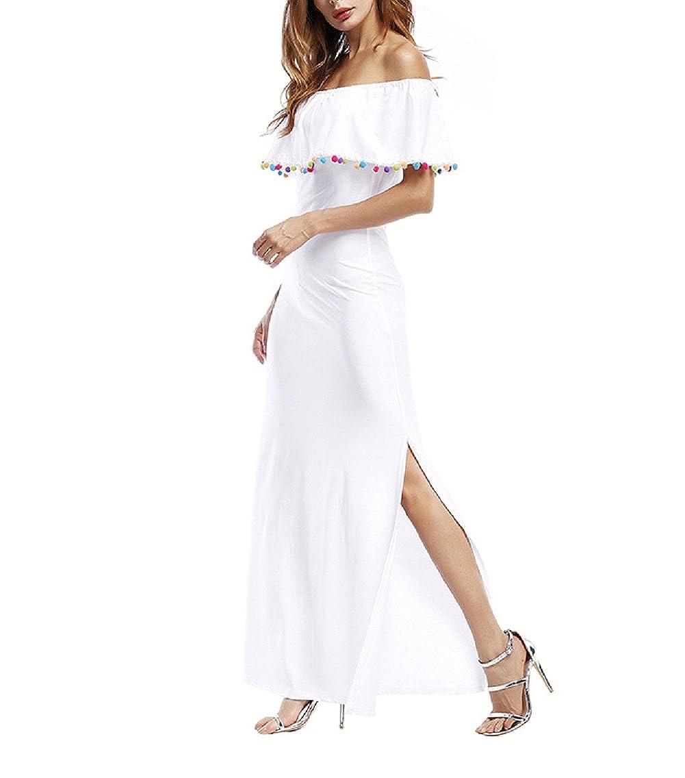 Vestito Senza Spalline Donna Elegante Abito con Spacco Laterale Maxi Skater  Dress Linea Ad A Abiti lunghi estivi Vestitini Frange Sottile Vestiti  Volant da ... c99a6ed03f5