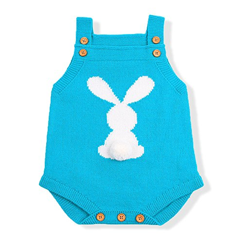 mimixiong Baby Romper Easter Bunny Knit Outfit Sling Clothes (6-12Months, SkyBlue) ()