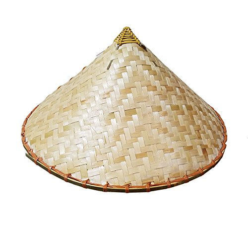 Hat Straw Rice (Coolie Chinese Conical Asian Hat Japanese Straw Sun Rice Bamboo Farmer Costume)