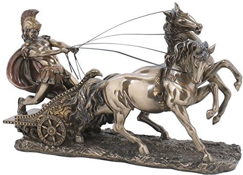 (Roman Chariot Pulled By 2 Horses Bronze Color Statue)