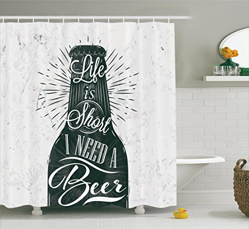 Ambesonne Collection Lettering Polyester Bathroom