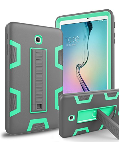 Galaxy Tab A 8.0 Case,TOPSKY[Kickstand Feature]Three Layer Hybrid Heavy Duty Full-Body Shockproof Anti-Slip Protective Case for Samsung Galaxy Tab A 8.0 inch Tablet(2015 Release)No Fit 2017,Grey/Green