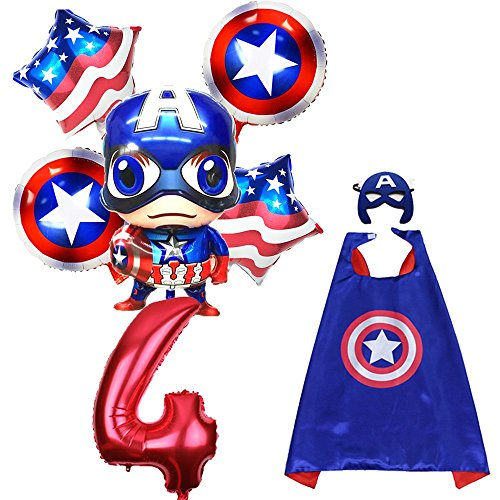 CuteTrees Super Hero Captain America 4th birthday party balloons party supplies party decoration birthday decorations and super hero cape and felt mask and number balloons 8 pcs -