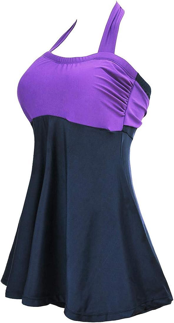 PANOZON Damen Neckholder Push up Badeanzug mit R/öckchen Plus Size Einteiliger Bauchweg Badekleid