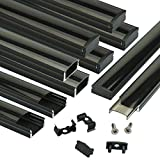 Muzata Black LED Channel System with Crystal Smoke Black Transparent Diffuser Clear Cover Lens,Aluminum Track Housing Profile for Strip Tape Light with Video Guide,10Pack 3.3ft/1M U Shape U1BB