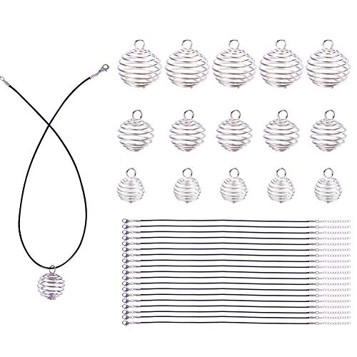 (PandaHall Elite 24 Pcs Iron Spiral Bead Cages Pendants 3 Styles with 24 Strands Wax Cotton Necklace Cord 17 Inches for Jewelry Making)