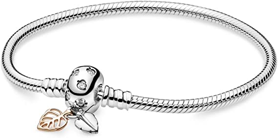 Pandora Moments Bracelet avec chaîne serpent et feuilles, 19 ...