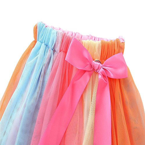 HBER 1-7T Baby Toddler Little Girls Birthday Clothes Letters T-Shirt + Colorful Rainbow Skirts Gift Outfits Set by HBER (Image #4)