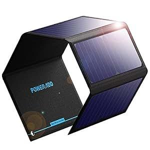 POWERADD Panel Solar 24W Portatil sin Batería Cargador Solar Plegable con 2 USB de Salida Puertos 5V/2.4A para Dipositivos Móviles USB Recargables