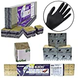 Grodan 1.5 x 1.5 x 1.5 Mini Blocks Grow Media Rockwool Stonewool Cube Propagation W/ THCity Lightning Gloves- Quantity 45 by Grodan