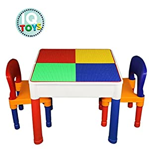 Kids Table & Chairs 3 in 1 Lego & Duplo Compatible plus Storage Play Set from IQ Toys