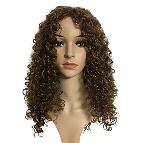 Mysky Fashion Synthetic No Front Lace Brown Wig Long Curly Wavy Wigs Natural Full Wigs For -