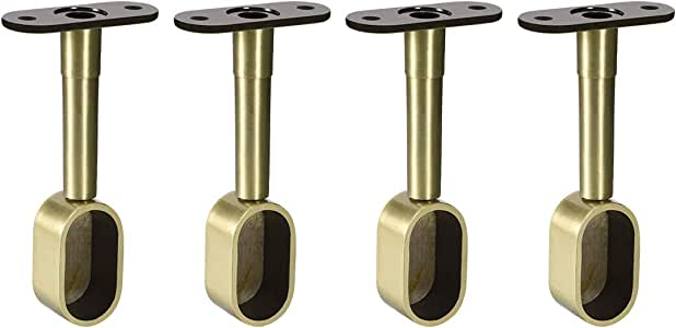uxcell Shower Curtain Rods Wardrobe Pipe Lever Wall Mounted Support Bracket 2pcs Suitable for Rod 16x30mm Adjustable 84-105mm Height Bronze Tone