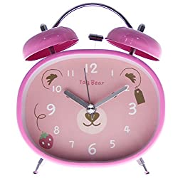 4 Oval-shaped Pink Bedside Classic Twin Bell Alarm Clock with Backlight - Pink Bear