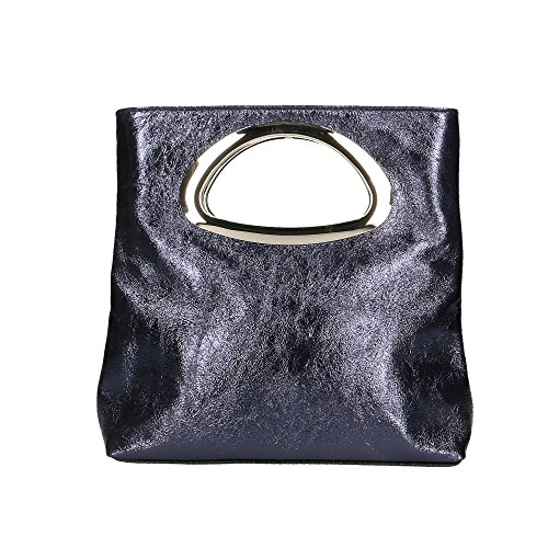 Aren Woman's Purse Genuine Leather Made In Italy - 26x25x8 Cm Blue