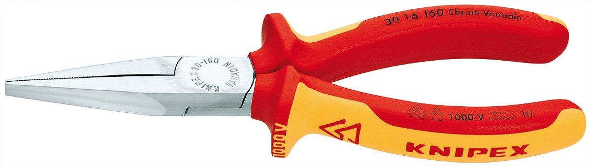 Knipex 30 16 160 Spitzzange Zange Spitzzange, 5 mm, 4,65 cm, Stahl, Red//Yellow, 16 cm Zangen