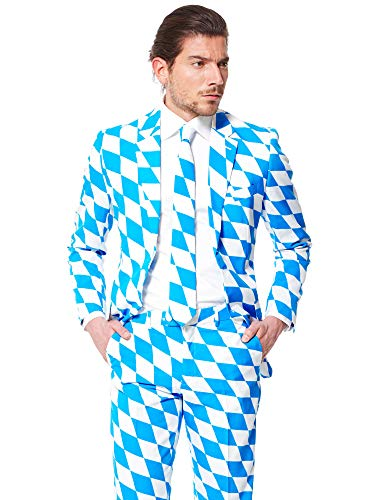 OppoSuits Bavarian Suit with Fun Colors and Prints - Full Set: Jacket, Pants and Tie -