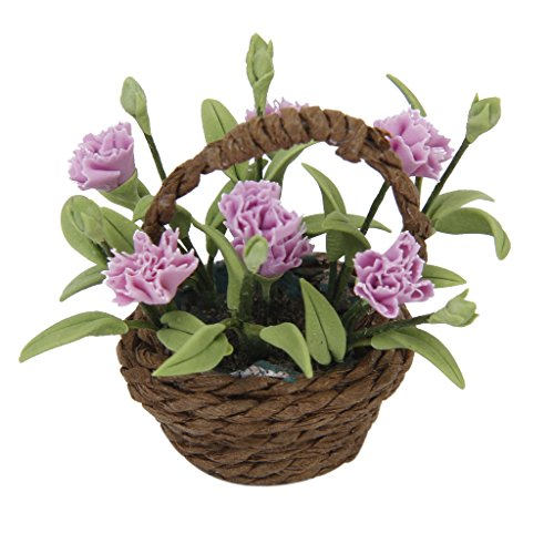 (Miniature Purple Carnation Flower Plant w/ Basket 1/12 Dollhouse Home Decoration)