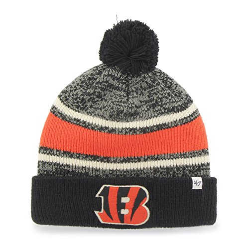 NFL Cincinnati Bengals '47 Fairfax Cuff Knit Hat with Pom, One Size Fits Most, Black