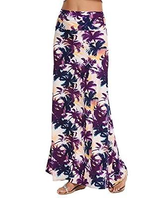 Zeagoo Women's Maxi Skirt Fold Over Waist Long Skirt