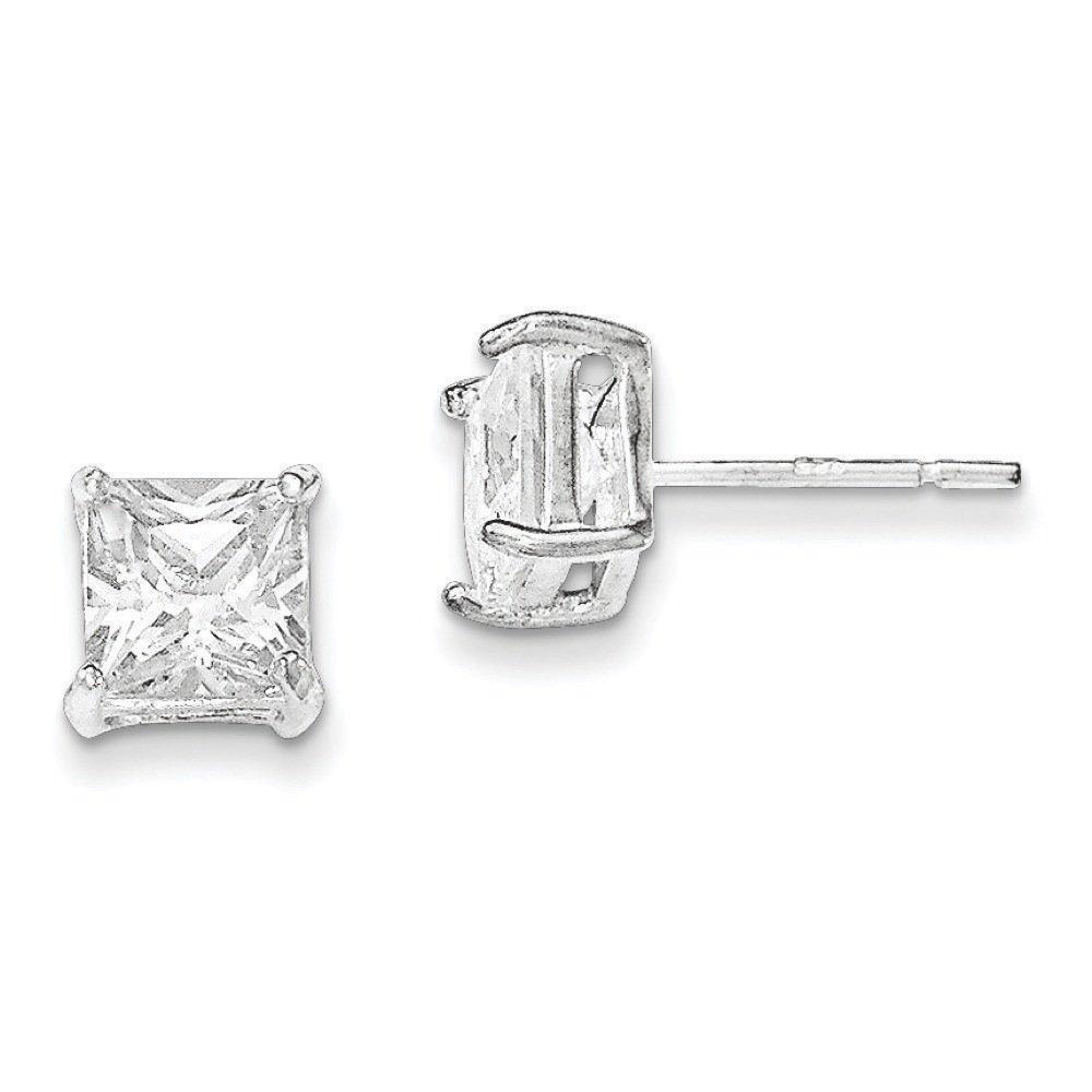 .925 Sterling Silver 7 MM Polished CZ Post Stud Earrings