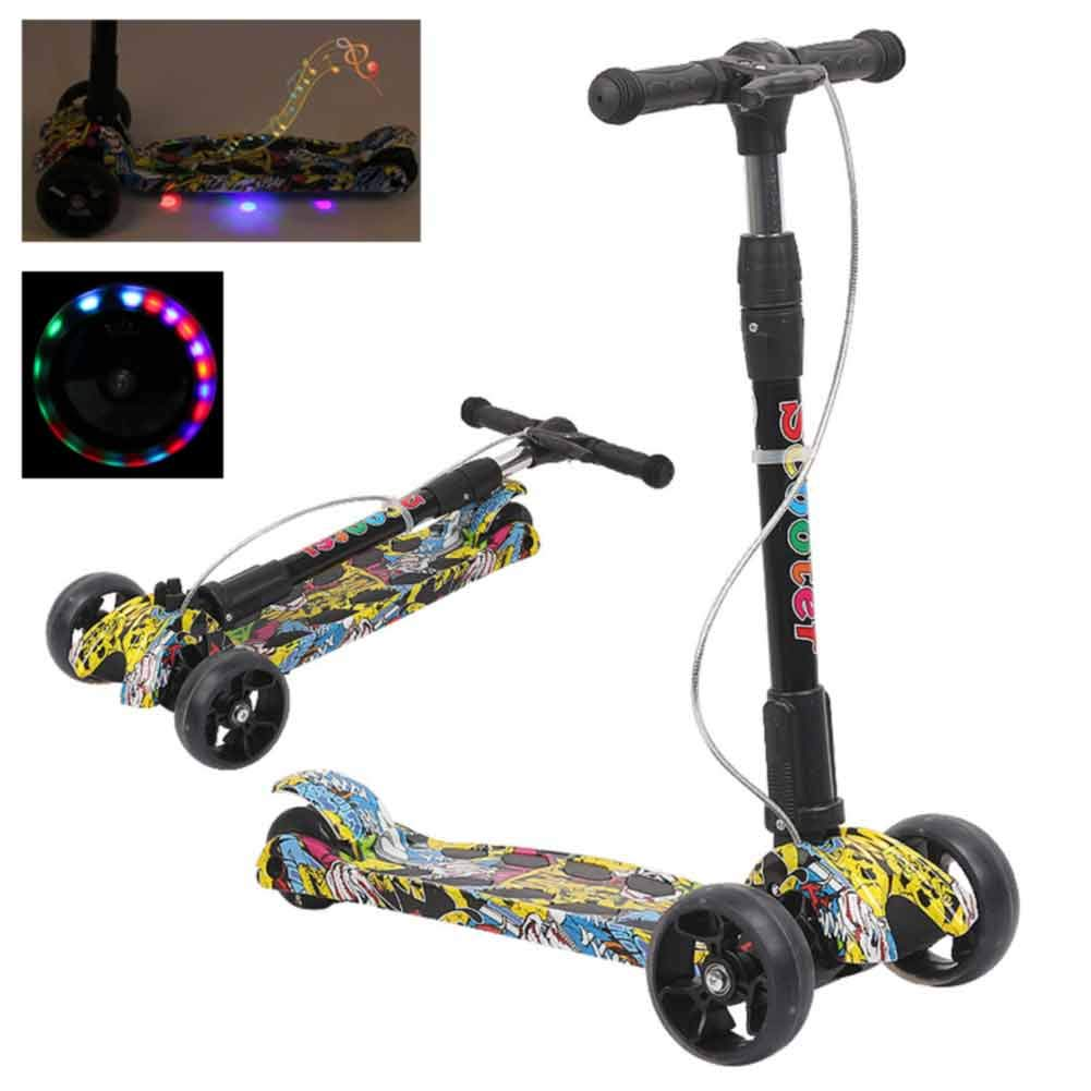CHIYEEE Kids Scooter 3 Wheel Foldable Music Kick Scooter Adjustable Height Handlebar Double Rear Wheels Design with LED Light Up for Boys and Girls Ages 2-10
