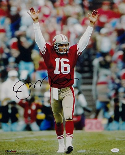 Joe Montana Autographed 49ers 16x20 Arms in Air Photo- JSA W Auth Middle