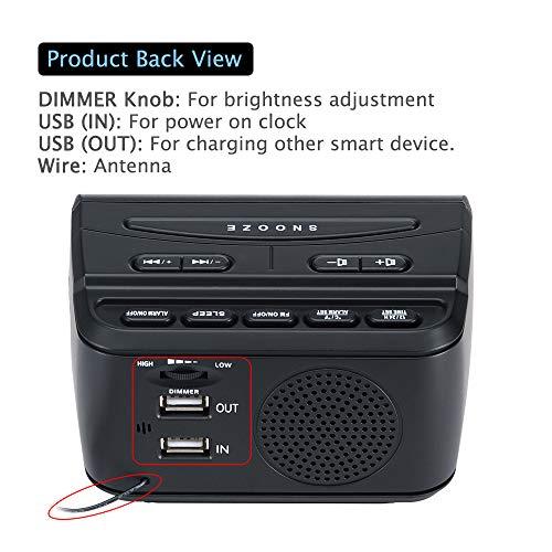 DreamSky Decent Alarm Clock Radio with FM Radio USB Port for Charging 12 Inch Blue Digit Display