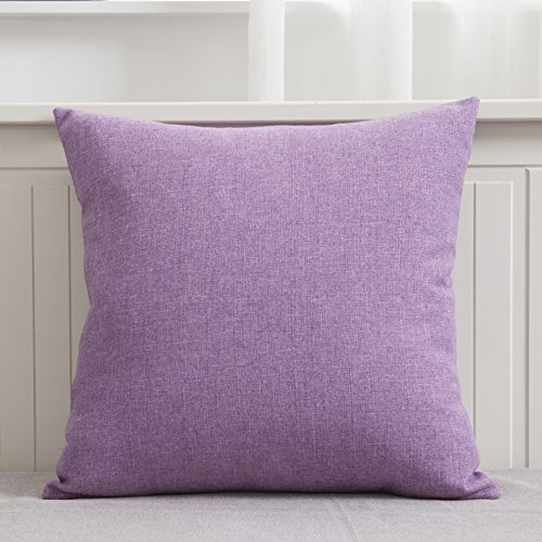 Home Brilliant Slub Linen Cushion Cover Throw Pillow Case for Car/Teen Girls' Room, 45 x 45 cm, Violet