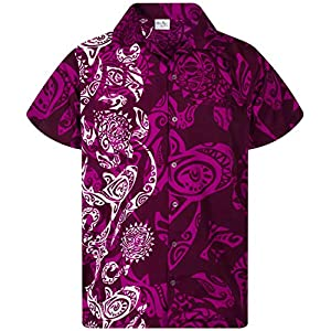 King Kameha Chemise Hawaïenne pour Homme Funky Casual Button Down Very Loud Courtes Unisex Maori Print Vertical