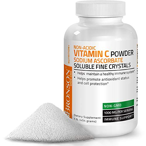 Non Acidic Vitamin C Powder Sodium Ascorbate Non GMO Soluble Fine Crystals - Healthy Immune System, Antioxidant and Cell Protection - 1 Pound (16 Oz, 454 Grams)