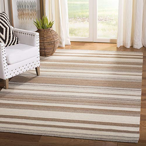 Hand Woven Transitional Camel - Safavieh Dhurries Collection DHU631A Hand Woven Natural and Camel Premium Wool Area Rug (8' x 10')