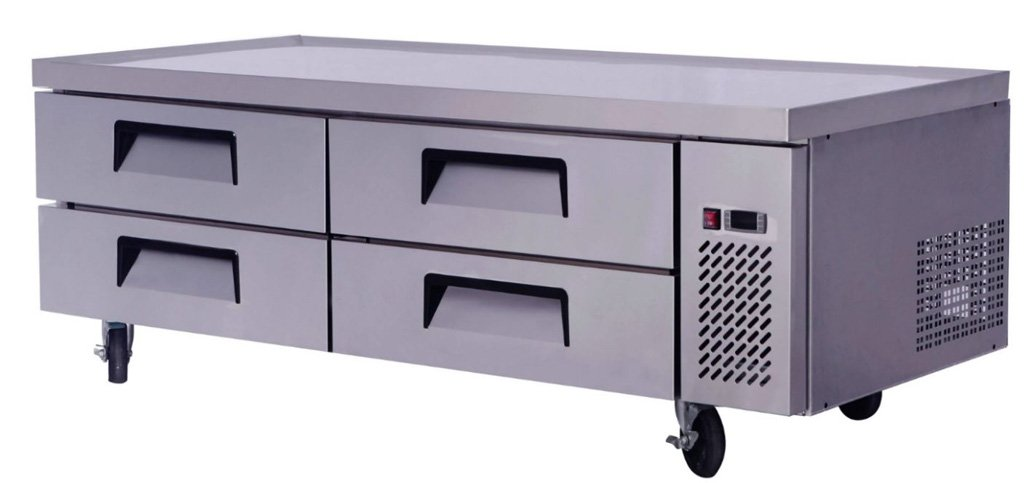 72'' Extended Top Stainless Steel Fridge Refrigerator Chef Base Work Table, MGF-8453, with 4 Cold Drawers (15.0 CF per)