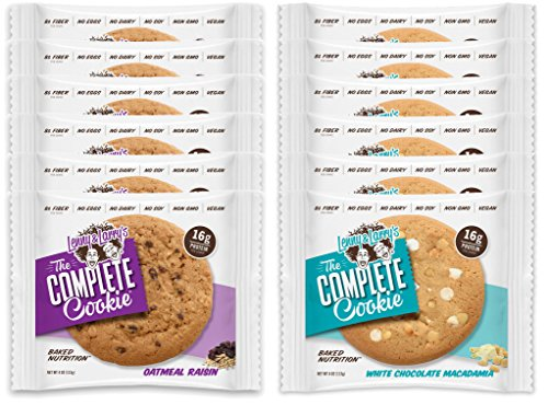 Lenny & Larry's The Complete Cookie - 6 Oatmeal Raisin and 6 White Chocolate Macadamia (Pack of 12)