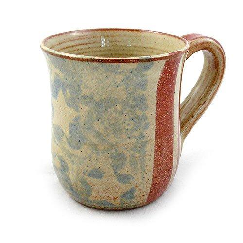 Old Glory American Flag Handmade Stoneware Pottery Mug, 14-ounce, Red, White + Blue