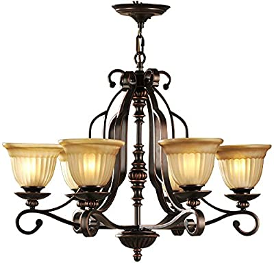LNC Traditional Chandeliers, Black Finish Iron Art Pendant Lighting Amber Glass Shade Light Fixtures