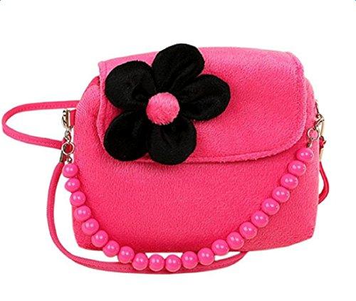 Hosaire Girl Bag Plush Flower Mini Handbag Shoulder Bag Messenger Bag for Toddlers and Preschoolers Rose