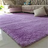 80X120cm Floor Carpets Anti Slip Bedroom Soft Mat Models Silky Carpet Mats Sofa Skin Rugs purple 80x120cm