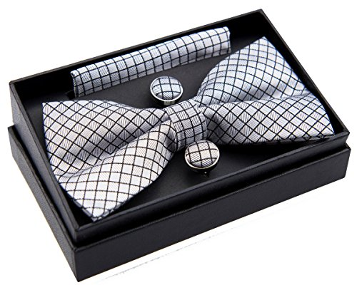 Check Textured Woven Pre-tied Bow Tie (5') w/ Pocket Square & Cufflinks Gift Set