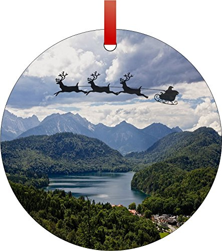 Santa and Sleigh Riding Over The Swiss Alps-Round Aluminum Christmas Ornament with a Red Satin Ribbon/Holiday Hanging Tree Ornament/Double-Sided Decoration/Great Unisex Holiday Gift! ()