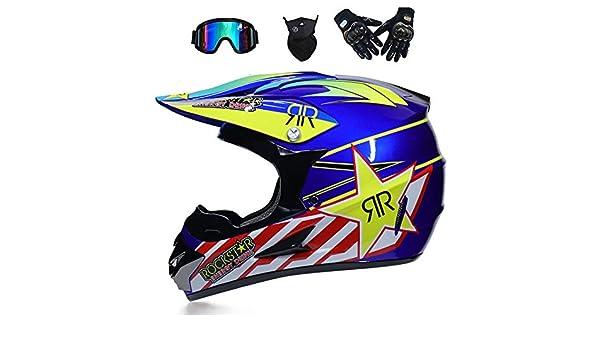 NOMEN Casco de Motocross para Adultos Casco de Moto MX Casco ATV Scooter ATV Casco D.O.T Certificado Rockstar m/áscara de Guantes de Gafas