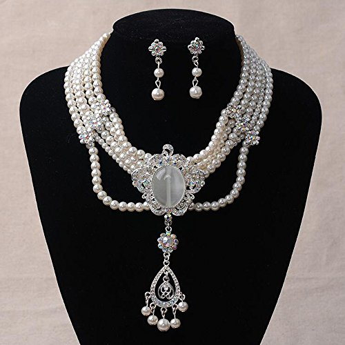 Missgrace Fashion Women Jewelry Sets Wedding Bridal Imitation Pearls Crystal Necklace Earrings Sets ()
