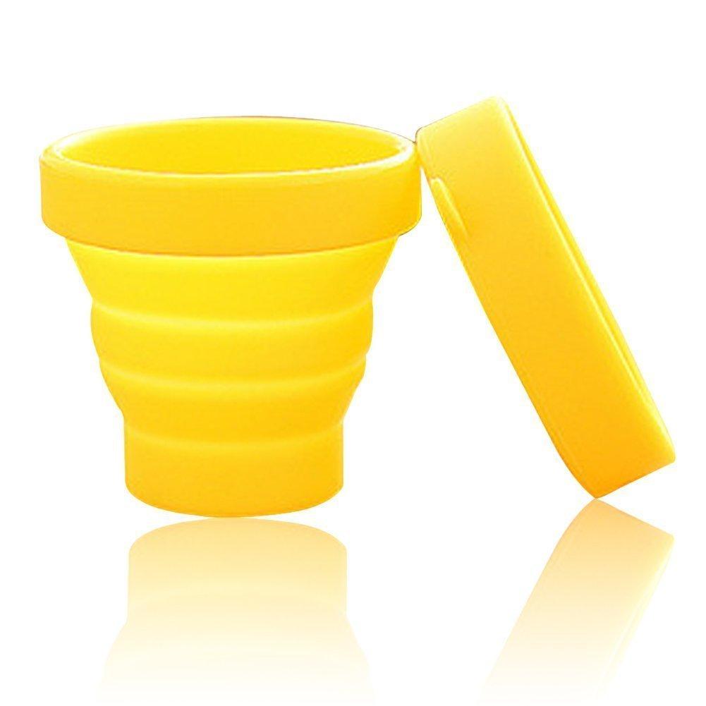 AsentechUK® Portatile Morbido Silicone Pieghevole Coppa Pieghevole Outdoor Viaggio Campeggio Bicchiere Porta spazzolini, Silicone, Yellow, 7.7 x 8 x 4.3cm LEPEA4442